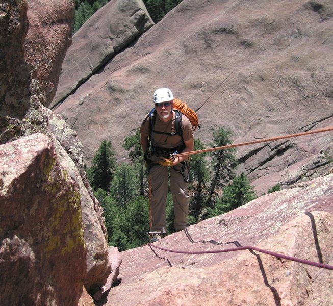 Rock Climbing Photo: Rick begins the second rappel, with the Ironing Bo...