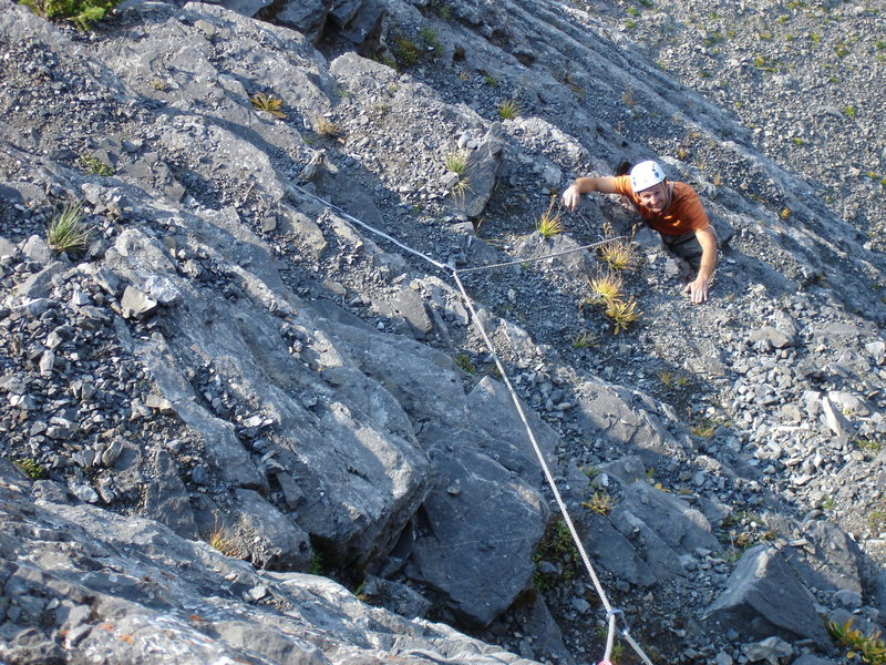Rock Climbing Photo: Boissal on the liberally sprinkled choss of pitch ...