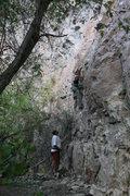 Rock Climbing Photo: The start of No Risk No Fin, 5.10d.