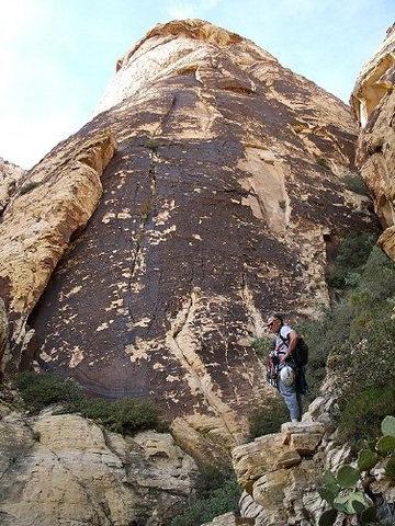Rock Climbing Photo: Andy Carson below northeast edge of Global Peak.