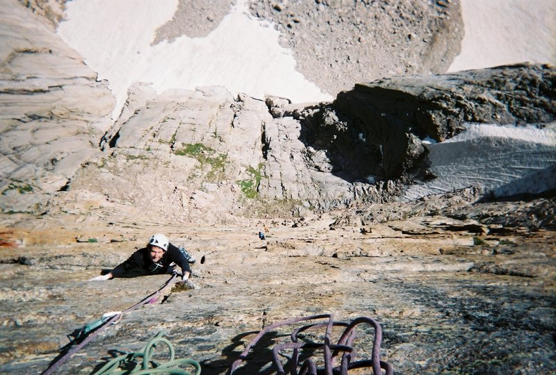 Rock Climbing Photo: Pat following the first 11a pitch above off of Cro...