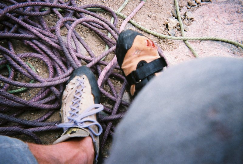 Mismatched shoes and bloody toes--what happens when you do hundreds of feet of handcracks in an Anasazi velcro.