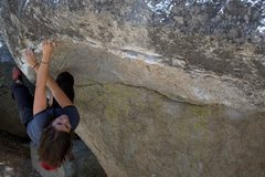 Rock Climbing Photo: Johnnie attempting the big move on the Visor Lip -...
