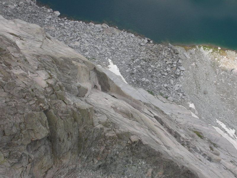 The great dihedral low on the M Buttress viewed from the route Golden Dihedral