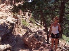 Rock Climbing Photo: Catching some shade on the way up Sanitas.