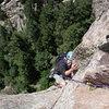Matt cruising the final hand crack to the summit.