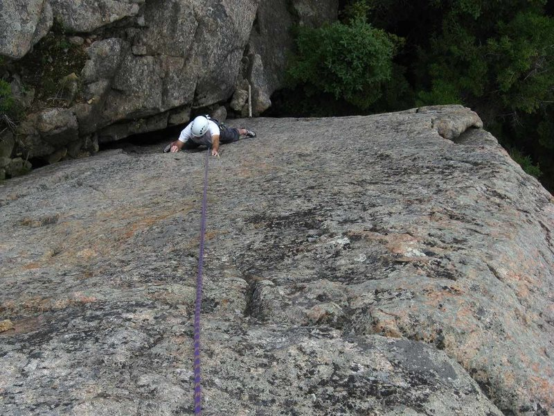 Rock Climbing Photo: Bruce Monroe searching for purchase on Stoned in a...