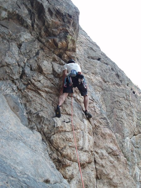 Rock Climbing Photo: 1st crux on 4th pitch.