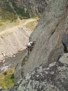 Rock Climbing Photo: Looking down the filthy slabs of pitch 3 (the impo...
