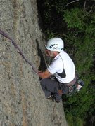 Rock Climbing Photo: Bruce Monroe in a jam on Lost in the Crowd.