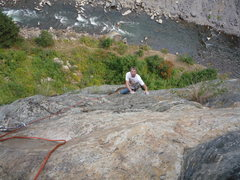 Rock Climbing Photo: Onto easier ground after exiting the crux on the s...