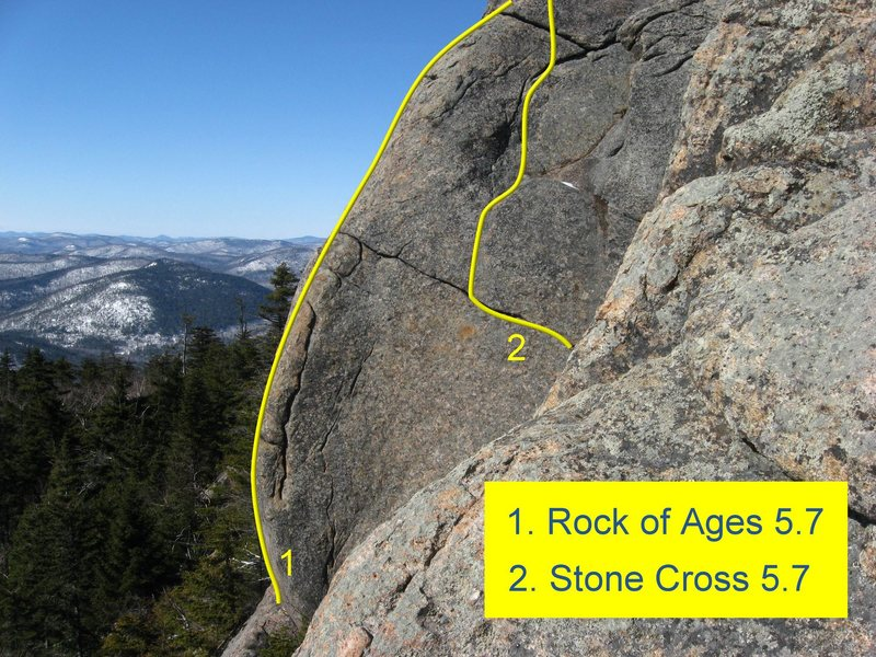 These routes are on the left, larger buttress. Note that <em>Foretaste</em> lies out of view to the right.