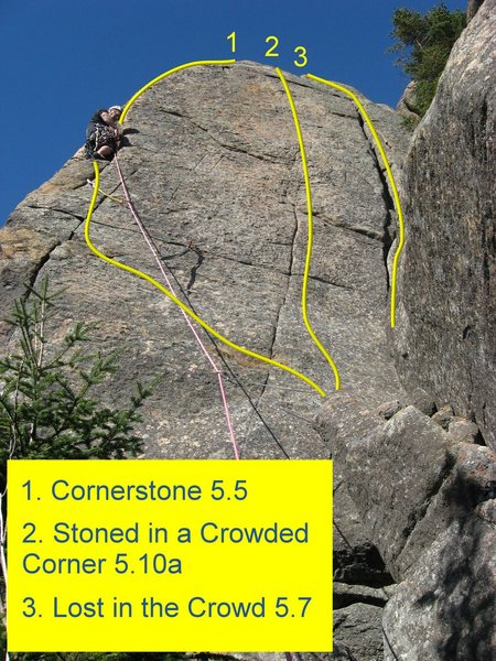 Routes on the east side of the right buttress.