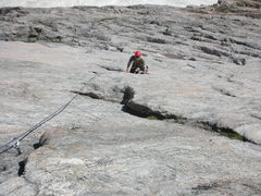 Rock Climbing Photo: Reaching the end of the slabby section of P2
