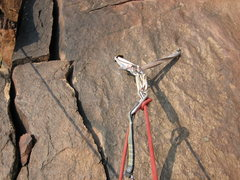 Rock Climbing Photo: The two bolt belay atop Pigeon Flake - not exactly...