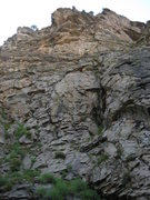 Rock Climbing Photo: looking up at the route from across the creek. als...