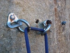 Rock Climbing Photo: Anchor atop Guinness.  Kinda wish folks would use ...