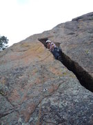 Rock Climbing Photo: CM on an unknown 5.9 at Chickenhead Ranch, Devil's...