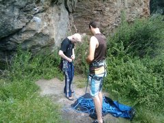 Rock Climbing Photo: Vin getting ready to pull a 5.10(Woof Toof Noof Ro...