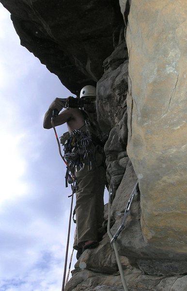 Rock Climbing Photo: Drillin' (start of P4).