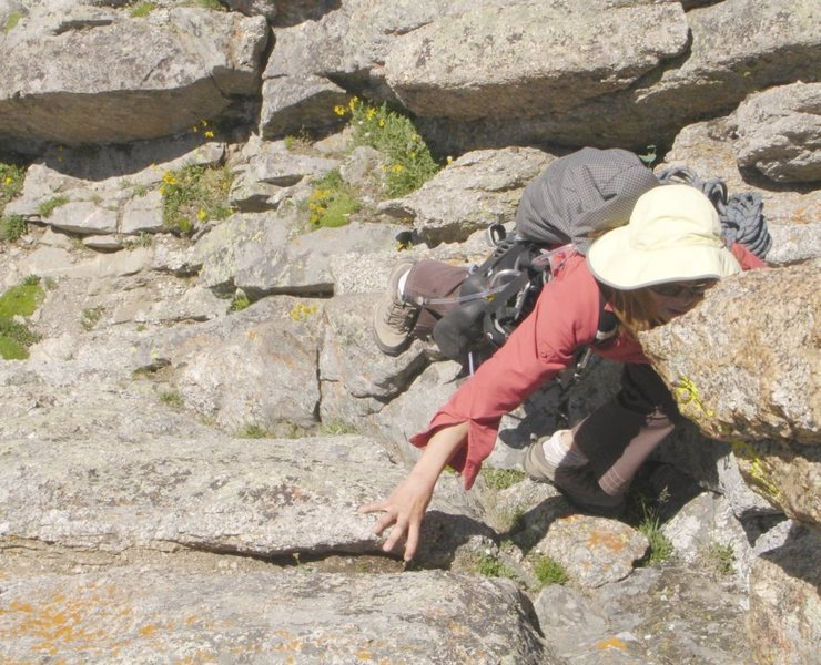 Rock Climbing Photo: Mmmm, I like to eat rock.  Scrambling to the base ...