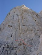 Rock Climbing Photo: 29aug09, we did it like this.  Red line denotes ou...
