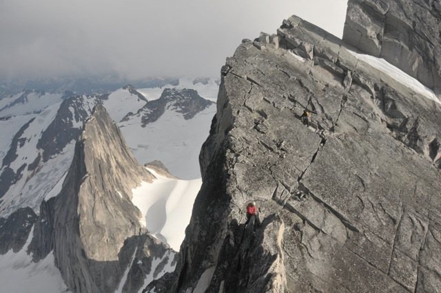 Traversing the ridge on Bugaboo