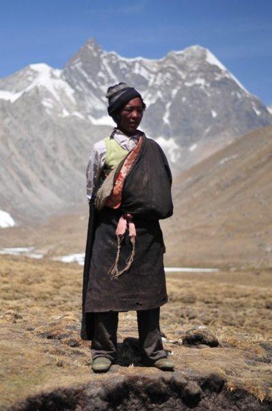 Tibetan nomadic shepherd boy in the Himalaya