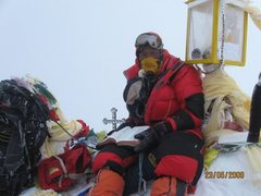 Rock Climbing Photo: Puchang Sherpa with his Bible on Everest