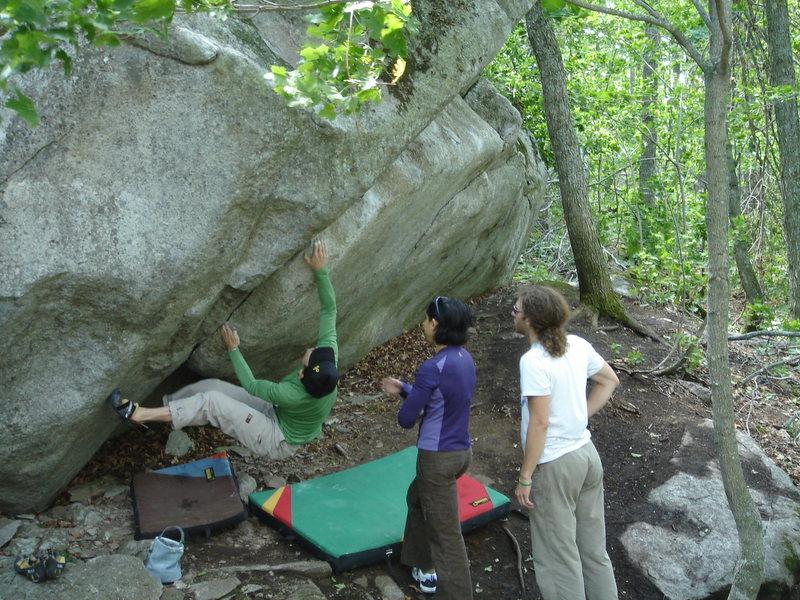 Rock Climbing Photo: Starting Jaws.  Sawmill, MN.