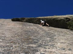 Rock Climbing Photo: P girl crushes the first pitch of Flake Route.