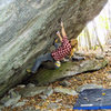 """Jason Lachniet on the First Ascent of """"True Grit"""" (V-5). This Grayson Highlands test piece can be found at the Contact Station Boulders."""