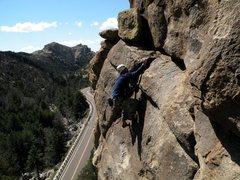 Rock Climbing Photo: Final moves on the right hand finish