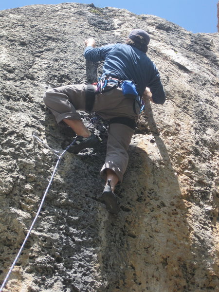Rock Climbing Photo: At the crux on High Plains Drifter