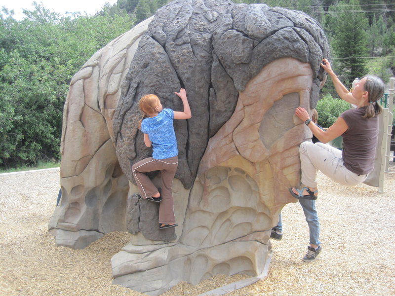 Cool buffalo boulder in the park playground.