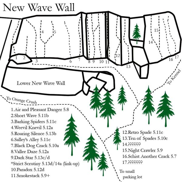 The New Wave map.... please comment if you know the names and or grades of the mystery routes.... if i get info on it i will update the map...