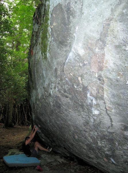 "Rock Climbing Photo: Steve Lovelace starting ""Blue Jet"" (V-2)..."