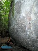 "Rock Climbing Photo: Steve Lovelace starting ""Blue Jet"" (V-2)..."