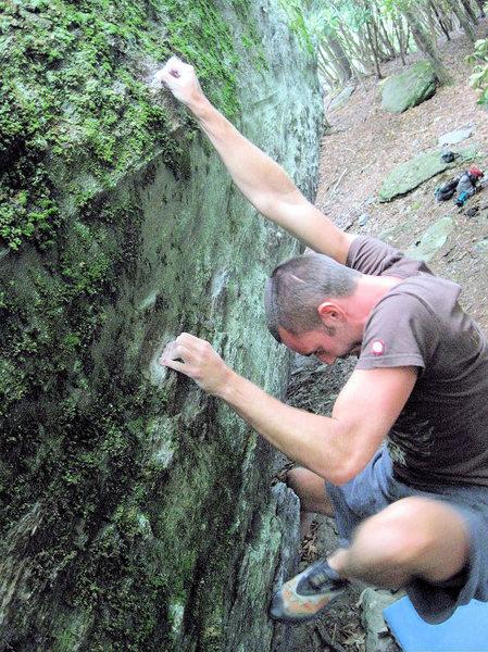 "Rock Climbing Photo: Steve Lovelace crimping through ""Blue Jet&quo..."