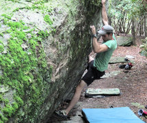 "Rock Climbing Photo: Aaron Parlier crimping through ""Blue Jet&quot..."