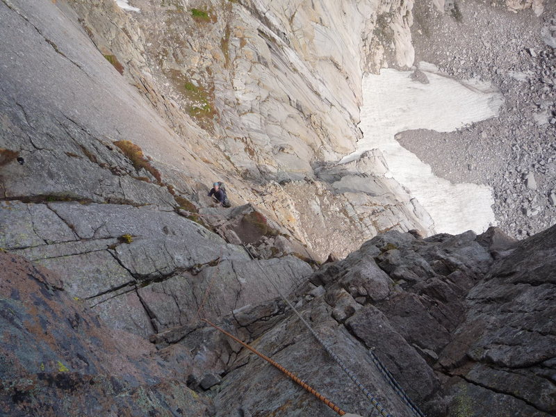 Roth following the third pitch of the Casual Route, Longs Peak.