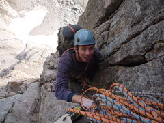 Rock Climbing Photo: Roth at the third Belay.  Casual Route, Longs Peak...