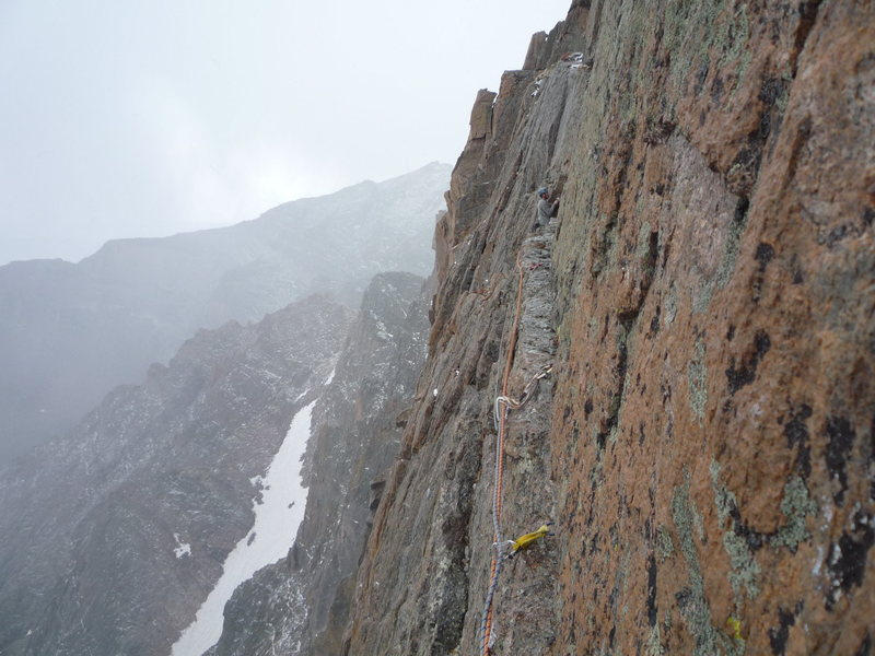Roth across the Table Ledge crack pitch. Casual Route, Longs Peak.