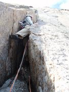 Rock Climbing Photo: J starting up our P3 (traditionally 4th)