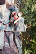Rock Climbing Photo: At the belay ledge near the top of JOSEPH (5.4).