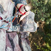 At the belay ledge near the top of JOSEPH (5.4).