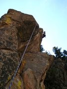 Rock Climbing Photo: Moving right after the main crack ends.