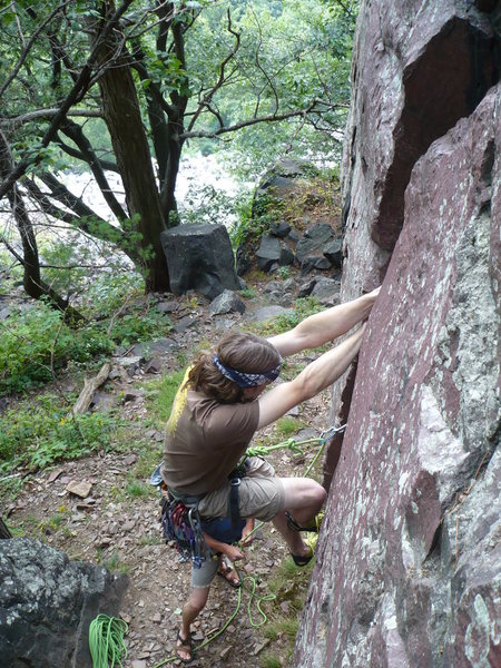 Rock Climbing Photo: John Knoerschild leading Hammer Crack.  Photo by C...