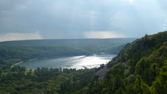 Rock Climbing Photo: East Bluff and Lake in the mist and rain.  Photo b...