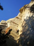 Rock Climbing Photo: Going through the thin flaring jams up to the inte...